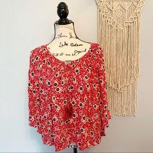 Zara Trafaluc Floral Bell Sleeve Tassel Blouse